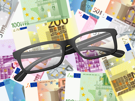 banknote: Reading glasses on euro banknote background. Vector illustration.