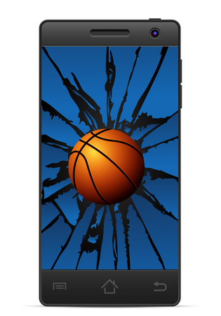 gsm phone: Cracked smart phone basketball  on a white background. Vector illustration. Illustration