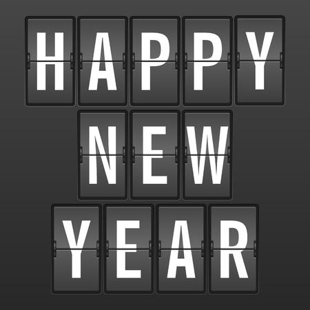 display type: Flip clock happy new year a black background.