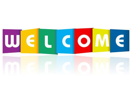the welcome: Bienvenido texto de papel sobre un fondo blanco.