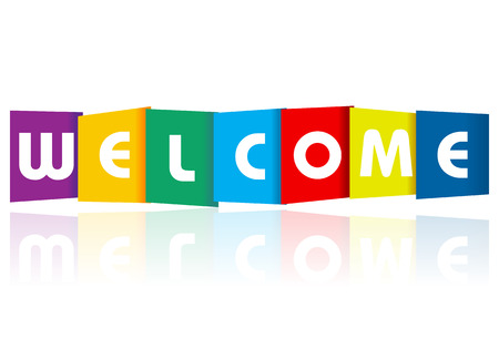 welcome: Welcome paper text on a white background.