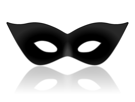 disguises: Black carnival mask on a white background.