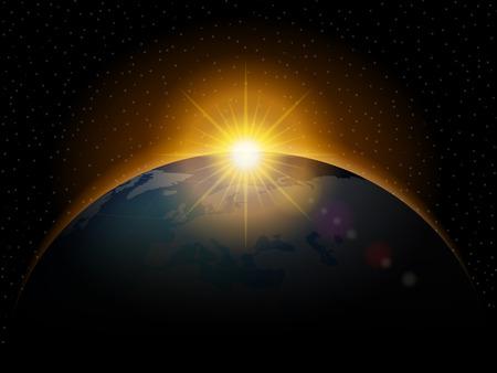 黒い空間で光沢のある日の出と惑星。  イラスト・ベクター素材