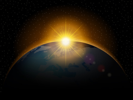 sunrise sky: Planet with shiny sunrise in black space.