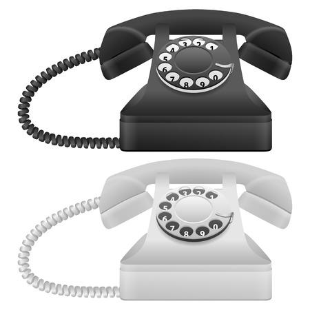 phone cord: Telephone set on a white background. Vector illustration. Illustration