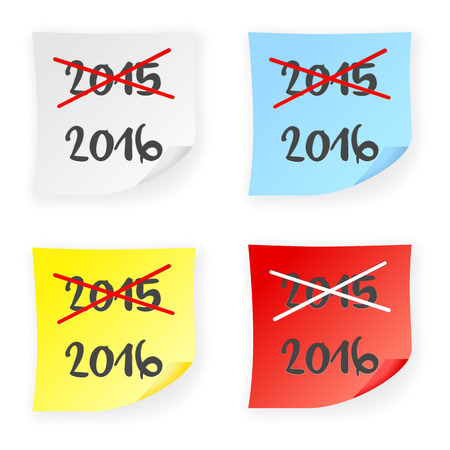 stick note: Stick note 2015 2016 on a white background. Vector illustration.