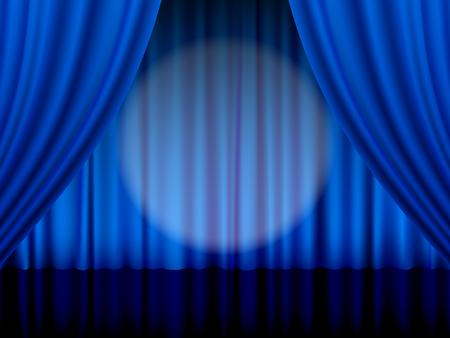 Primer plano de una cortina de teatro azul. Ilustración de vector