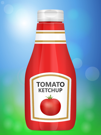 editorial: Tomato ketchup bottle on abstract background.