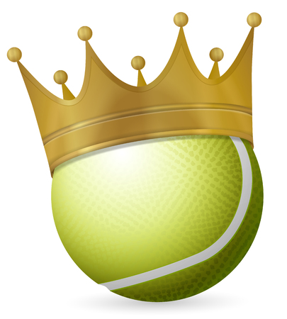 Tennis ball with crown on a white background Stock Illustratie