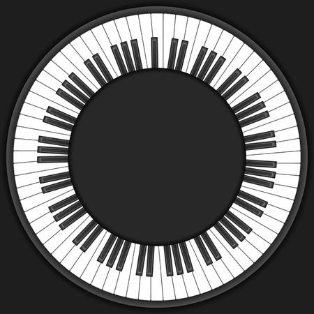 piano closeup: Circle piano keyboard on a black background. Illustration