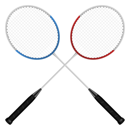 badminton: Badminton rackets on a white background.