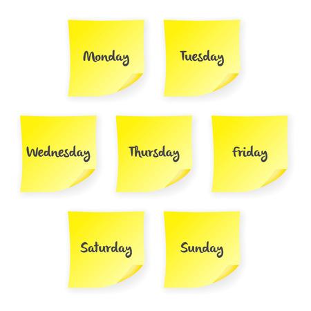 Collez Note jour de la semaine sur un fond blanc. illustration.