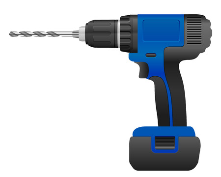 drill bit: Electric drill and bit on a white background.