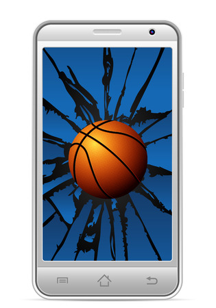 gsm phone: Cracked smart phone basketball  on a white background. illustration.