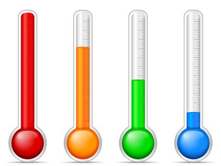 thermometer: Termómetro fijado en un fondo blanco. Vectores