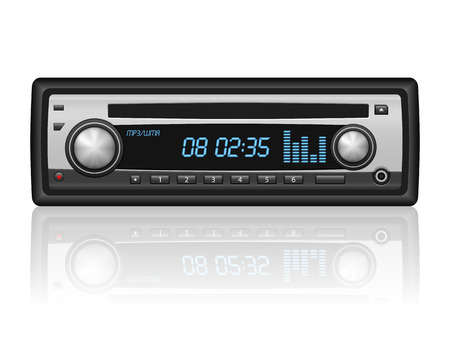Car radio on a white background. illustration.