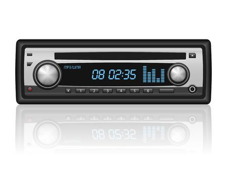 Car radio on a white background. illustration.