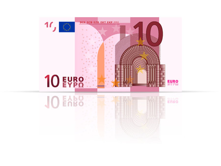 banknote: Ten euro banknote on a white background.