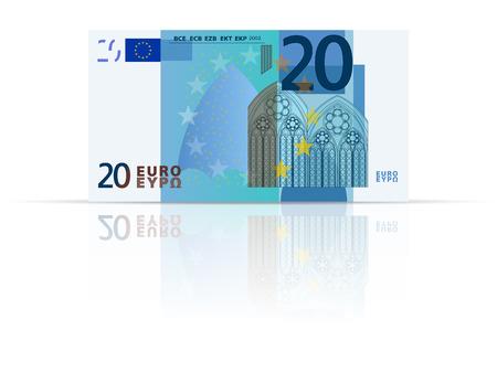 Twintig euro biljet op een witte achtergrond.