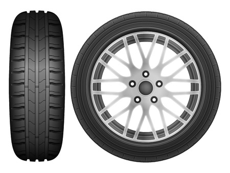 tire: Car wheel rim tire on a white background.