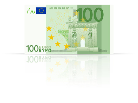 one hundred euro banknote: One hundred euro banknote on a white background.