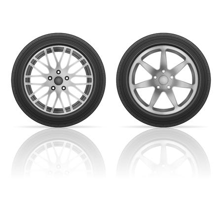 car tire: Car wheel tire set on a white background. Illustration