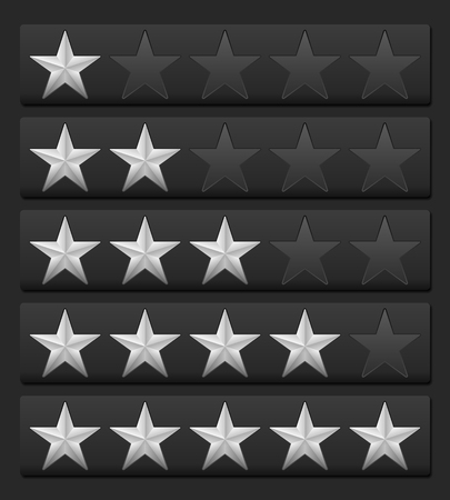 silver stars: Silver stars rating on a black background.