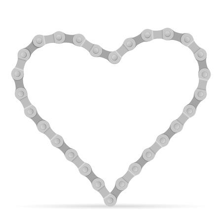 bike chain: Bike chain heart on a white background. Illustration