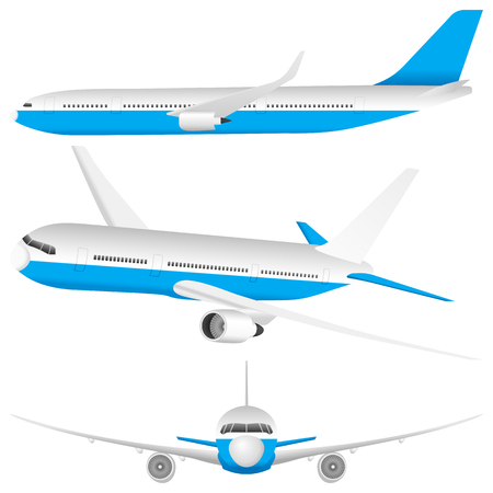 fuselage: Airplane set on a white background. Illustration