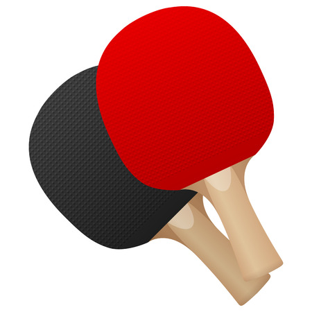 Table tennis bats on a white background.