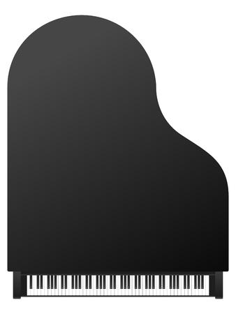 klawiatury: Piano widok z góry na białym tle. Ilustracja