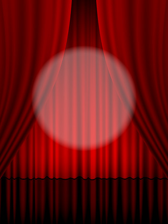 theatre curtain: Close view of a red theatre curtain.