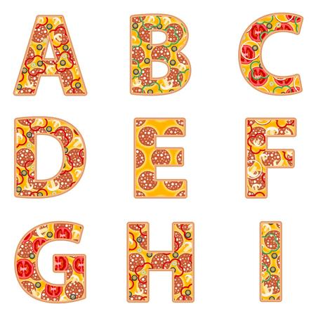 Pizza alphabet A to I on a white background. Illustration