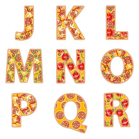 hot pepper: Pizza alphabet J to R on a white background. Illustration