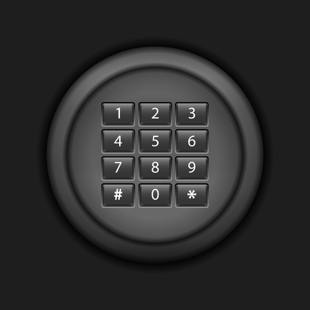 secret number: Combination lock on a black background.