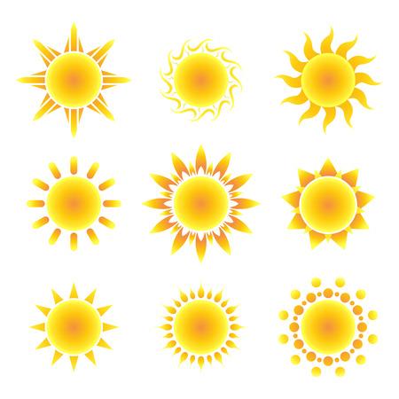 sole: Simbolo del sole impostato su uno sfondo bianco. Illustrazione vettoriale.