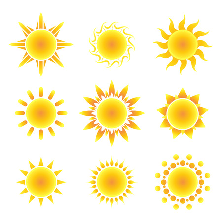 dawn: Sun symbol set on a white background. Vector illustration.