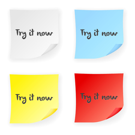 try: Stick note try it now on a white background. Vector illustration.