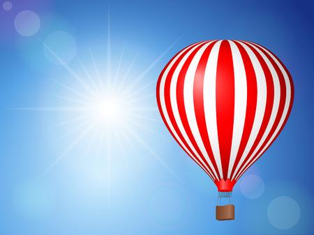 ballooning: Air balloon flying on blue sky. Illustration