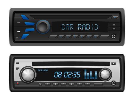equipo de sonido: radio del coche fijó en un fondo blanco. Ilustración del vector.