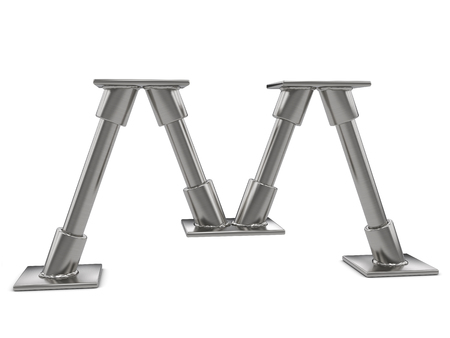 alphabet letter a: Metal letter M on a white background.