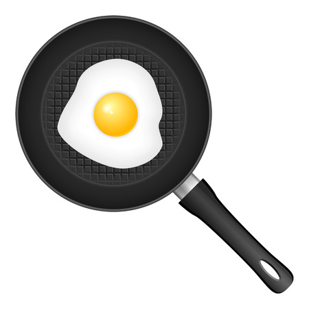 frying: frying pan with egg Illustration