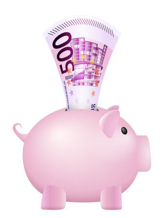 hundred: Piggy bank five hundred euro banknote on a white background. Illustration