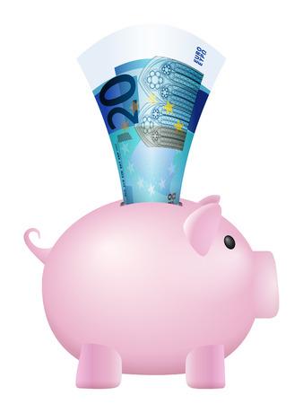 twenty: Piggy bank twenty euro banknote on a white background.