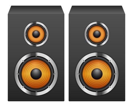 equipo de sonido: Los oradores sobre un fondo blanco. Vectores