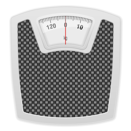 analog weight scale: Bathroom scale on white background. Vector illustration. Illustration