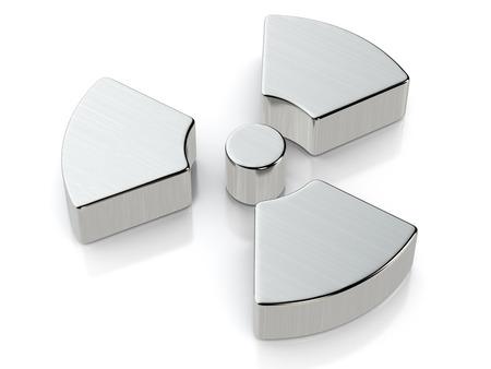 metallic: Metallic radiation symbol on a white background.