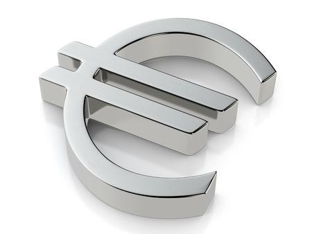 metallic: Metallic euro symbol on a white background. Stock Photo