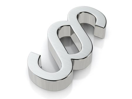 Metallic paragraph symbol on a white background.