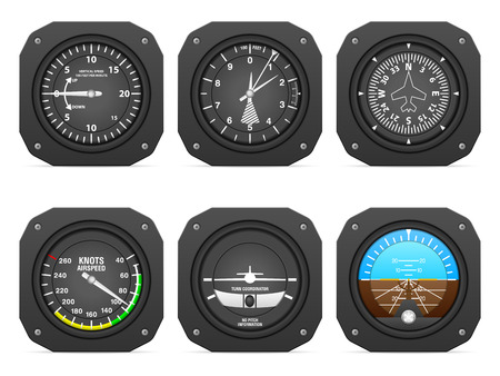 instruments: Flight instruments on a white background.